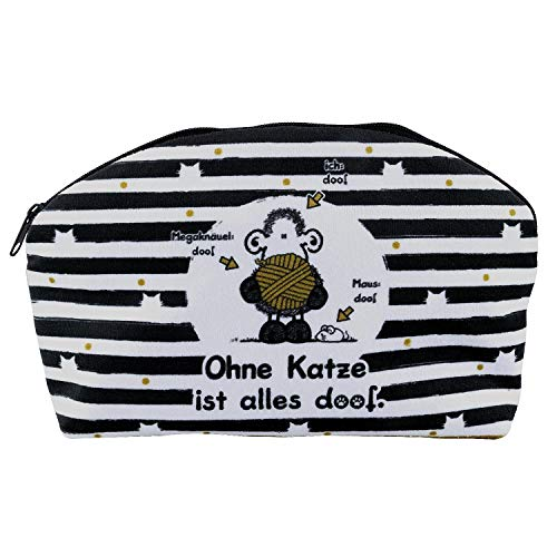 Sheepworld 45995 Plüschmäppchen Ohne Katze ist alles doof, mit Reißverschluss, goldfarbenes Innenfutter