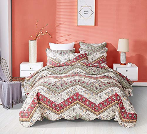 DaDa Bedding Bohemian Patchwork Bedspread - Rustic Cranberry Sage Chevron Floral Quilted Coverlet Set - Scalloped Edges Multi-Colorful Orange Red Green & Ivory White Background - Cal King - 3-Pieces
