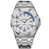 Benyar 2019 Fashion Sport Mens Watch Luxury Stainless Steel Waterproof Unique Dress Business Casual Wrist Watch Calendar Date (Silver White)