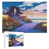 ビーチハウスと色とりどりの花の海景 300ピースのパズル木製パズル大人の贈り物子供の誕生日プレゼント