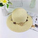 B/H Sombreros de Paja de Hechos a Mano Mujer Verano Proteccion Solar,Sombrero de Paja para sombrilla mar Playa Piscina-Beige,La Playa de la Paja del Borde Grande Ancho Cap