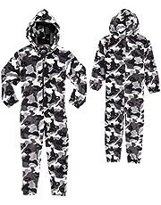 CityComfort Pijama Entero para Niños con Capucha, Pijama Mono De Forro Polar, Ropa Niño de Dormir Estampado Camuflaje, Regalos para Niños Niñas Adolescentes 7-14 Años