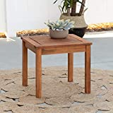 Walker Edison Dominica Contemporary Acacia Wood Slatted Outdoor Accent Table, 20 Inch, Brown