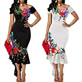 gLoaSublim Vintage Dresses for Women, Sexy Women Flower Embroidered Off Shoulder Asymmetrical Bodycon Mermaid Dress Black XXL