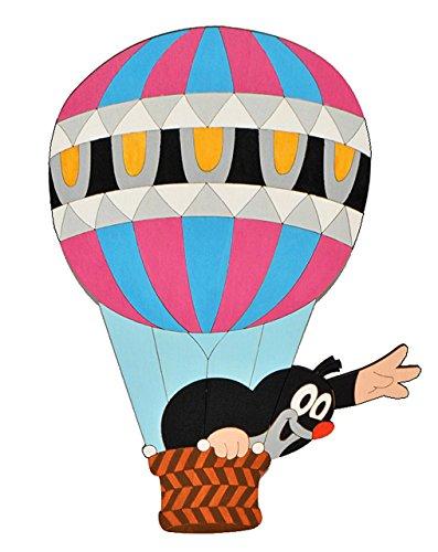 alles-meine.de GmbH Wandbild / Wandtattoo - Der kleine Maulwurf - Pauli - Holz - selbstklebend - Kinderzimmer Deko Bilder Türschild Heißluftballon