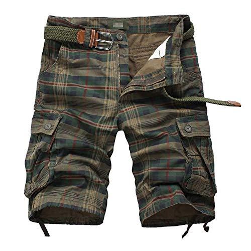 YLBH Pantalones Cortos para Hombres Pantalones Deportivos para Hombres Pantalones Cortos A Cuadros Multibolsillos De Cinco Puntos para Hombres Pantalones Cortos De AlgodóN Green 44