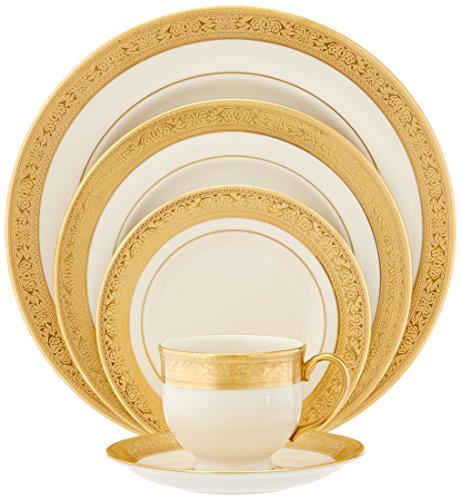 Lenox Westchester Gold-Banded 5-Piece Place Setting, Service for 1 , Ivory,gold - 110890610