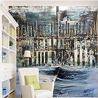 xueshao 大規模なカスタム壁紙壁画モダンな雰囲気の抽象化シティブリッジリビングルームのテレビの背景の壁-150X120Cm