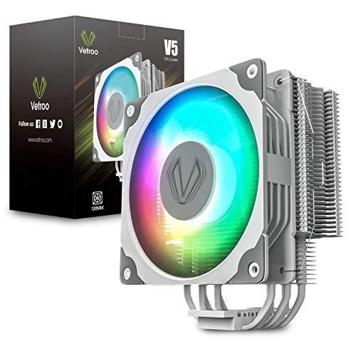 Vetroo V5 White CPU Air Cooler w/ 5 Heat Pipes, 120mm PWM Processor Fan Intel/AMD Universal Socket