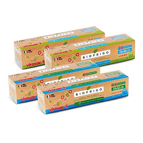 Virosac - Biofrigo - Sacchetti per frigo e freezer biodegradabili, 2 rotoli 28x40 da 20 pezzi + 2 rotoli 23x32 da 30 pezzi