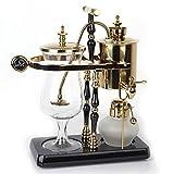 Diguo Belgian / Belgium Family Balance Siphon / Syphon Coffee Maker, Elegant Double Ridged Fulcrum with Tee Handle (Egyptian Black & Gold)