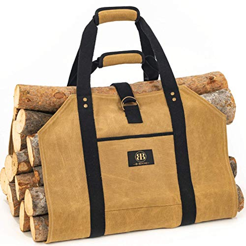 Log Carrier for Firewood Bag - 20oz Waxed Canvas Wood Carriers with Handles for Fireplace - Durable Heavy-Duty Firewood Carrier - Waterproof Log Carrier with Shoulder Straps - Wood Bag Carrier.