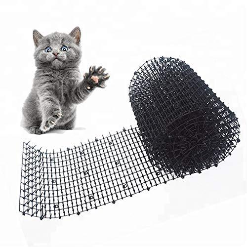 PANYUE Gardem - Alfombrilla para gato y perro con tiras de pinchazos y tapón de excavación, red de espina de plástico seguro