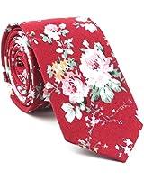 TAGERWILEN Men's Skinny Tie Floral Print Cotton Necktie, Groom,Groomsmen,Dances (378)