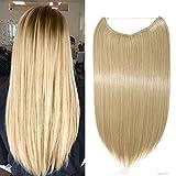 Extension per Capelli Lunghi Lisci Fascia Unica con Filo Trasparente 50cm - One Piece Hair Extensions 3/4 Full Head, Biondo Cenere mix Bleach Blonde