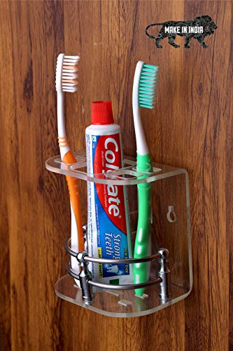 Malaviya Wall Mounted self Adhesive Acrylic Tooth Brush Holder/Stand/Tumbler/Toothpaste for Bathroom Stand Organizer Rack for Home (Transparent)