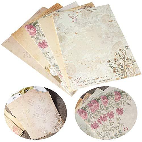BESLIME 50 Pcs Schreibpapier, Briefpapier Vintage Schreibpapier Briefe, Vintage Blumen altes Papier mit Motiv für Breif (5 verschiedene Designs,18.5x26cm)