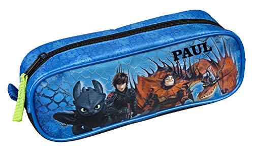 Schlampermäppchen mit Namen   inkl. NAMENSDRUCK   Motiv Dragons Drache blau schwarz   Personalisieren & Bedrucken   Federmappe Stifte-Box Etui Federtasche