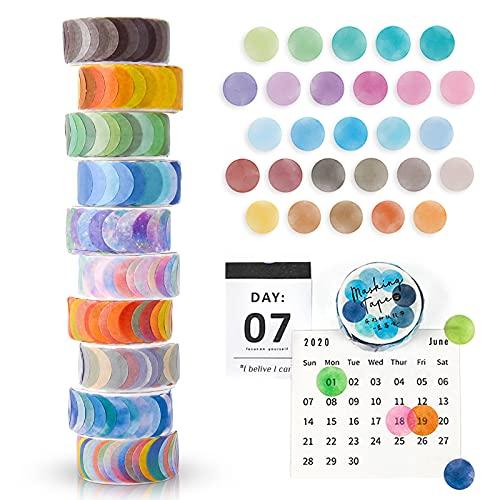 FORMIZON Washi Tape Set, 10 Rollos de Cinta Adhesiva Decorativa Washi Lunares Cintas Washi, Washi Tapes Vintage Papel, Cinta Adhesiva de Colores para Bullet Journal Scrapbooking DIY Manualidades