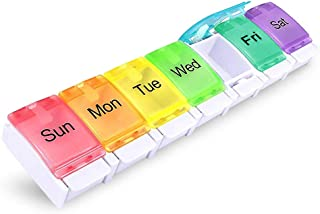 Weekly Pill Organizer Arthritis Friendly,Hzrfun Daily Medicine Organizer Pill Box Case with Spring Open Design and Large Compartment to Hold Vitamins, Cod Liver Oil, Supplements and Medication