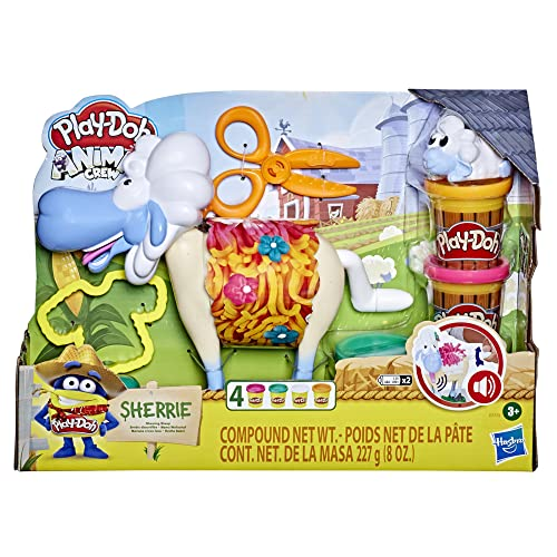 Play-Doh Animal Crew Sherrie Shearin' Sheep Toy for Kids 3 Years and Up with Funny Sounds and 4 Non-Toxic Colors