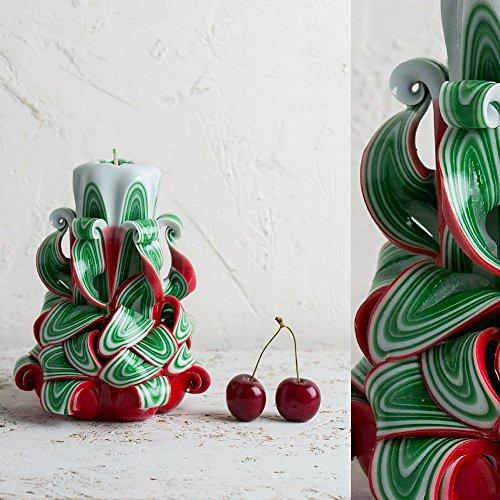 Vela Tallada Decorativa de Árbol de Navidad – Feliz Año Nuevo y Días Festivos – Rojo Verde y Blanco –...