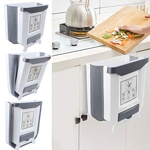 Gintan Mülleimer,9L Faltbarer Mülleimer Küche Abfalleimer Aufhängbarenzum Abfallbehälter für Küche, Auto, Bad, Büro und Schlafzimmer (Weiß)
