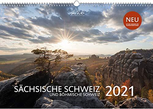 Sächsische Schweiz Kalender 2021 mit 3 Wandervorschlägen - Wandkalender Quer (50 x 34 CM, Größer als A3) - Kalender Sächsische Schweiz 2021 - Kalender Landschaft Wandern Touren