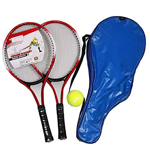 ZXCV - Juego de 2 raquetas de tenis para adolescentes, cuerda de fibra de carbono de acero con pelota, color rojo, tamaño large
