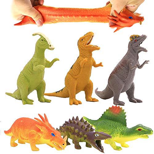 Jouet dinosaure 8 Pouces (6 sacs) , Caoutchouc Alimentaire de Qualité Médicale étirable, avec Boîte Cadeau et Carte de Ressources Apprentissage, Monde Animal Dinosaure Garçons enfant Souvenirs Fête