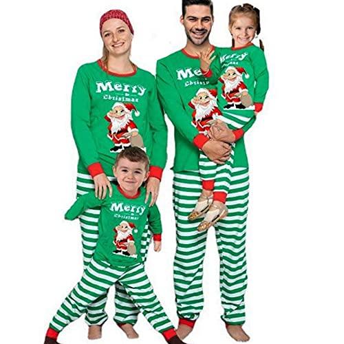 Conjunto de Pijamas Navideños para Familia Padre Madre Bebé Pijama Dos Piezas 2 Piezas Camiseta de Manga Larga + Pantalones Largos a Cuadros Estampado de Papá Noel Navidad,Men-L
