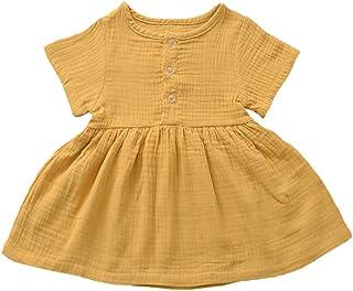 Weixinbuy Toddler Baby Girls Dresses Round Collar Short Sleeve Cotton Linen Skirt Dress