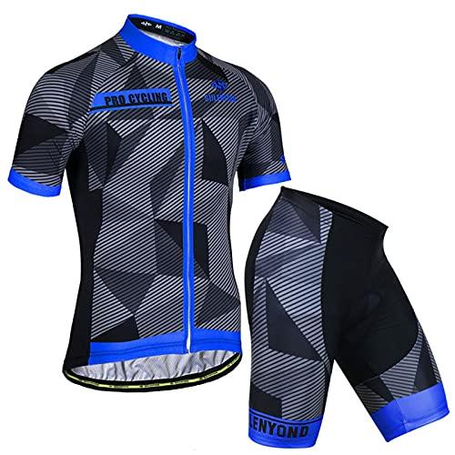 AdirMi Completo Ciclismo Uomini, Manica Corta con Zip + Corti con 3D Imbottito, Traspirante Antiscivolo Asciugatura Veloce Elastico Ciclismo Maglia, Completo per Ciclista Estate,D,M