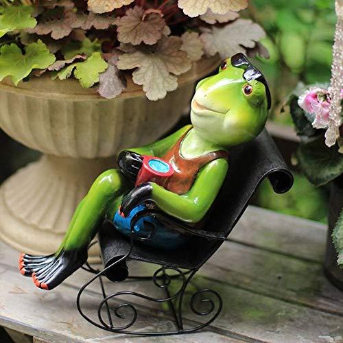 Statues Sculpture Figurines Statuettes,Frog Rocking Chair Design Creative Animal Figurines Art Modern Statues Ornaments For Home Living Room Porch Desktop Garden Statuettes Artwork Decoration Accesso
