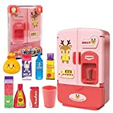 Mangoo Juguetes inteligentes de simulación para refrigerador, niños fingen jugar con doble puerta para nevera, cocina, rompecabezas de juguete divertido para el hogar para niños (rosa)