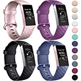 AK pour Fitbit Charge 3 Bracelet, Remplacement Réglable Sport Bracelets pour Fitbit Charge 3 (4-Pack Black+Rose Gold+Purple+Blue, Small)