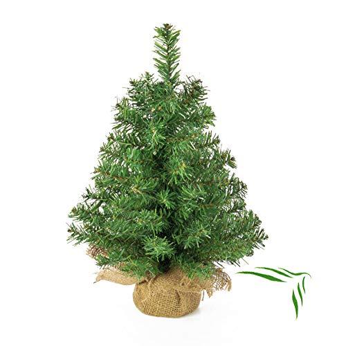 artplants.de Mini árbol de Navidad Artificial Athen en un Saco de Yute, 60 Ramas, 45cm, Ø 20cm - Abeto navideño - Adorno pequeño