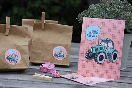 SET 6 STÜCK personalisierte Einladungen zum Kindergeburtstag mit 6 Aufkleber für Mitgebseltüten für Eure Gastgeschenke - Traktor