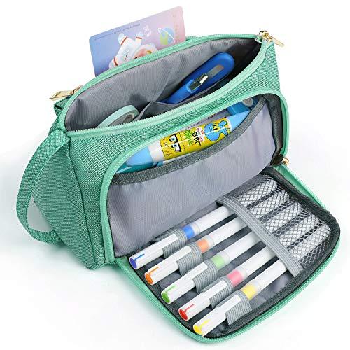 Federmäppchen, Jelly Comb Große Kapazität Mäppchen Bleistiftbeutel Federtasche Make-up Tasche mit HalterSchreibwaren Veranstalter für Schule & Büro Damen Mädchen (Grün)