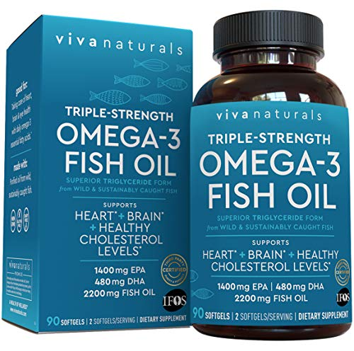 Fish Oil Omega 3 Supplement (90 Softgels) - 2,200mg EPA & DHA, Triple Strength Wild Triglyceride Omega 3 Fish Oil Supplements with No Fishy Burps