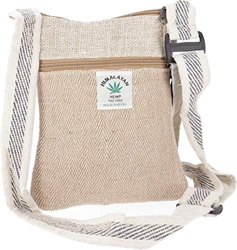 GURU SHOP Hanf Schultertasche, Hippie Tasche, Nepal Tasche - Uni, Herren/Damen, Beige, Baumwolle, Size:One Size, 20x17x4 cm, Alternative Umhängetasche, Handtasche aus Stoff