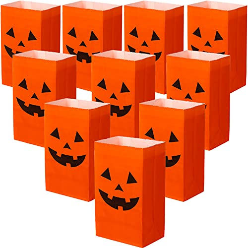 Zonon 24 Pieces Halloween Candy Party Bags Present Paper Bags Grocery Bags Crafting Paper Bags Lunch Flat Bottom Paper Bags, 10 x 5 x 3 Inches