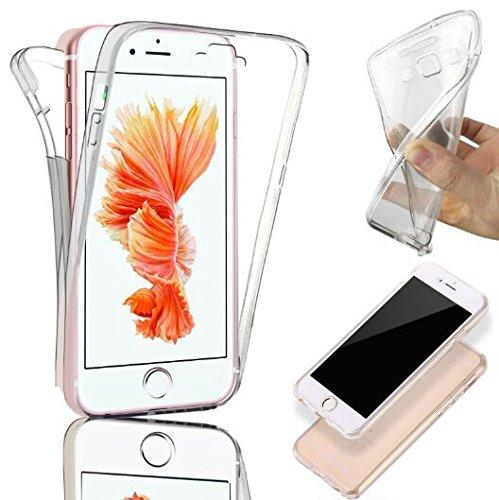 Savfy, custodia in gel di silicone per iPhone SE, 5 e 5S, iPhone 6S/6 (anteriore e posteriore), trasparente