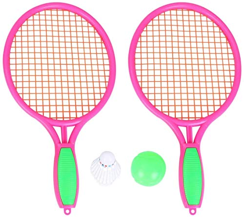 RENFEIYUAN 1 par de niños Raquetas de Tenis para niños niños de plástico de bádminton Raquetas Juego Accesorios para la Escuela Primaria de Kindergarten (tamaño M Rosa) Badminton Raqueta