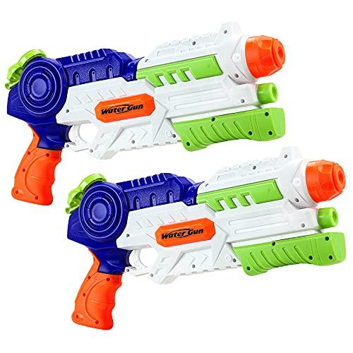 lenbest Pistola ad Acqua 2 Pack per Bambini, 1200ml Pistole ad Acqua Potente Lungo Raggio 10M, Grandi Water Guns Giocattoli Estivi per Ragazzi Ragazza Adulti Piscina, Giardino e Spiaggia