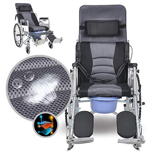Z-SEAT Bedside Commode Toilet Chair Klappbar, Liegender Rollstuhl mit hoher Rückenlehne, 3-Fach verstellbar, U Commode Sitz und Eimer 220 lb.