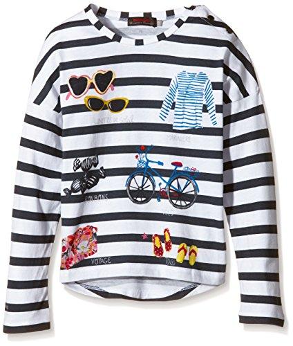Catimini Mädchen CHLFC-Spirit City F/L T-Shirt, Weiß-Blanc (Rayé), (Herstellergröße: 5 Jahre)