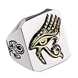 Titanium Steel Egyptian Gold Eye of Horus Hip Hop Ring for Men Women Size 11