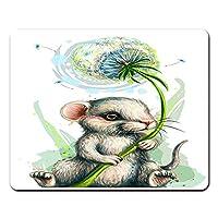 Onete ウサギマウスパッド タンポポの花マウスパッド水彩の野生動物マウスパッドノートブック、デスクトップコンピュータのマウスマット、オフィス用品