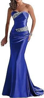 Women's Long Beaded Mermaid Evening Bridesmaid Dress Formal Prom Gown